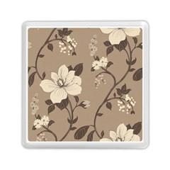 Floral Flower Rose Leaf Grey Memory Card Reader (Square)