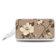 Floral Flower Rose Leaf Grey Portable Speaker (White)