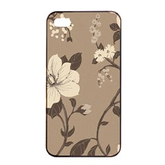 Floral Flower Rose Leaf Grey Apple iPhone 4/4s Seamless Case (Black)