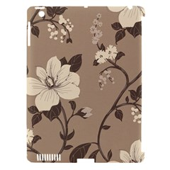Floral Flower Rose Leaf Grey Apple iPad 3/4 Hardshell Case (Compatible with Smart Cover)