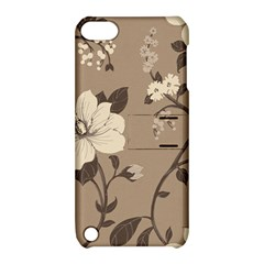 Floral Flower Rose Leaf Grey Apple iPod Touch 5 Hardshell Case with Stand