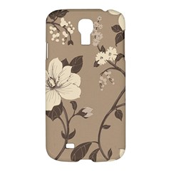 Floral Flower Rose Leaf Grey Samsung Galaxy S4 I9500/I9505 Hardshell Case