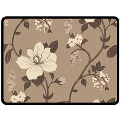 Floral Flower Rose Leaf Grey Double Sided Fleece Blanket (Large)