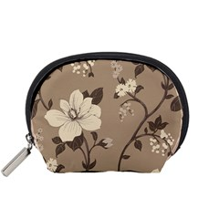Floral Flower Rose Leaf Grey Accessory Pouches (Small)