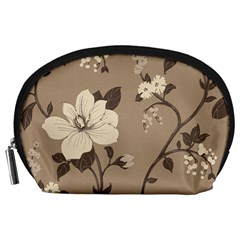 Floral Flower Rose Leaf Grey Accessory Pouches (Large)