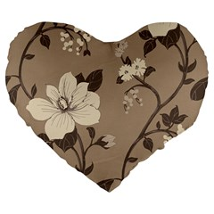 Floral Flower Rose Leaf Grey Large 19  Premium Flano Heart Shape Cushions