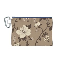 Floral Flower Rose Leaf Grey Canvas Cosmetic Bag (M)