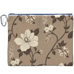 Floral Flower Rose Leaf Grey Canvas Cosmetic Bag (XXXL)