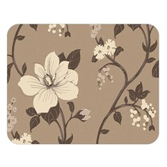 Floral Flower Rose Leaf Grey Double Sided Flano Blanket (Large)