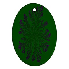 Dendron Diffusion Aggregation Flower Floral Leaf Green Purple Ornament (Oval)