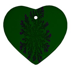 Dendron Diffusion Aggregation Flower Floral Leaf Green Purple Ornament (Heart)