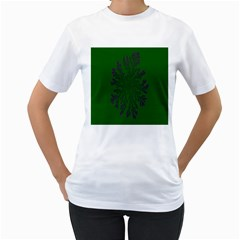 Dendron Diffusion Aggregation Flower Floral Leaf Green Purple Women s T-Shirt (White) (Two Sided)