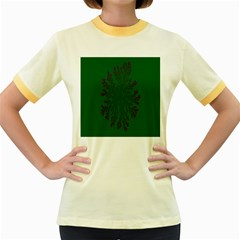 Dendron Diffusion Aggregation Flower Floral Leaf Green Purple Women s Fitted Ringer T-Shirts