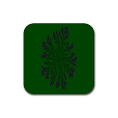 Dendron Diffusion Aggregation Flower Floral Leaf Green Purple Rubber Square Coaster (4 pack)