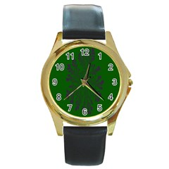Dendron Diffusion Aggregation Flower Floral Leaf Green Purple Round Gold Metal Watch