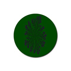 Dendron Diffusion Aggregation Flower Floral Leaf Green Purple Rubber Coaster (Round)