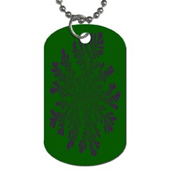 Dendron Diffusion Aggregation Flower Floral Leaf Green Purple Dog Tag (One Side)