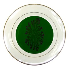 Dendron Diffusion Aggregation Flower Floral Leaf Green Purple Porcelain Plates