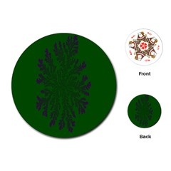 Dendron Diffusion Aggregation Flower Floral Leaf Green Purple Playing Cards (Round)