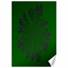Dendron Diffusion Aggregation Flower Floral Leaf Green Purple Canvas 12  x 18