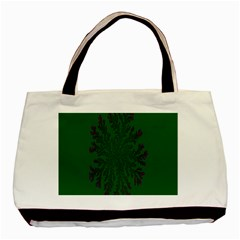 Dendron Diffusion Aggregation Flower Floral Leaf Green Purple Basic Tote Bag (Two Sides)