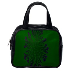 Dendron Diffusion Aggregation Flower Floral Leaf Green Purple Classic Handbags (One Side)