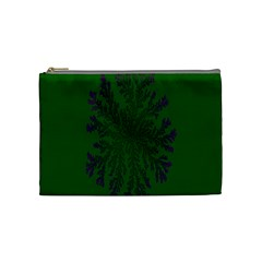 Dendron Diffusion Aggregation Flower Floral Leaf Green Purple Cosmetic Bag (Medium)