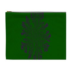 Dendron Diffusion Aggregation Flower Floral Leaf Green Purple Cosmetic Bag (XL)