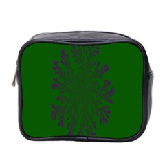 Dendron Diffusion Aggregation Flower Floral Leaf Green Purple Mini Toiletries Bag 2-Side