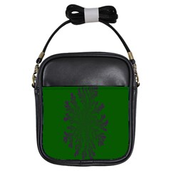 Dendron Diffusion Aggregation Flower Floral Leaf Green Purple Girls Sling Bags