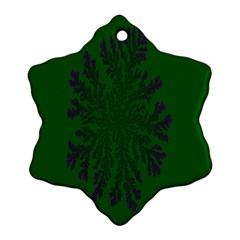 Dendron Diffusion Aggregation Flower Floral Leaf Green Purple Ornament (Snowflake)