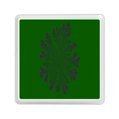 Dendron Diffusion Aggregation Flower Floral Leaf Green Purple Memory Card Reader (Square)