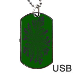Dendron Diffusion Aggregation Flower Floral Leaf Green Purple Dog Tag USB Flash (One Side)