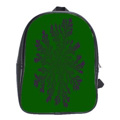 Dendron Diffusion Aggregation Flower Floral Leaf Green Purple School Bags (XL)