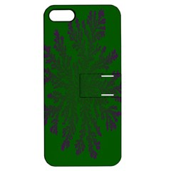 Dendron Diffusion Aggregation Flower Floral Leaf Green Purple Apple Iphone 5 Hardshell Case With Stand