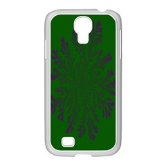 Dendron Diffusion Aggregation Flower Floral Leaf Green Purple Samsung Galaxy S4 I9500/ I9505 Case (white)