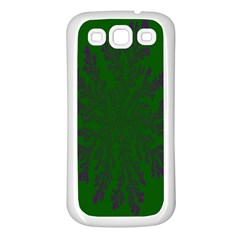 Dendron Diffusion Aggregation Flower Floral Leaf Green Purple Samsung Galaxy S3 Back Case (White)
