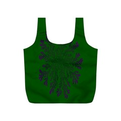 Dendron Diffusion Aggregation Flower Floral Leaf Green Purple Full Print Recycle Bags (S)