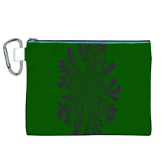 Dendron Diffusion Aggregation Flower Floral Leaf Green Purple Canvas Cosmetic Bag (XL)