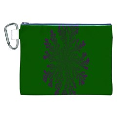 Dendron Diffusion Aggregation Flower Floral Leaf Green Purple Canvas Cosmetic Bag (XXL)