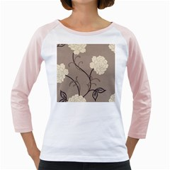 Flower Floral Black Grey Rose Girly Raglans