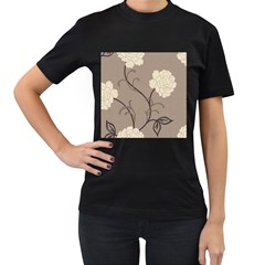 Flower Floral Black Grey Rose Women s T-Shirt (Black) (Two Sided)