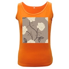 Flower Floral Black Grey Rose Women s Dark Tank Top
