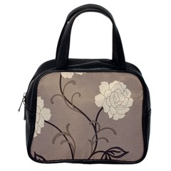 Flower Floral Black Grey Rose Classic Handbags (One Side)