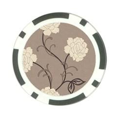 Flower Floral Black Grey Rose Poker Chip Card Guard (10 pack)