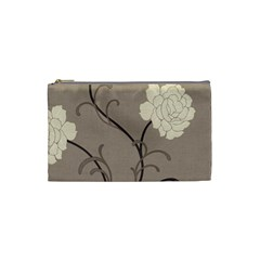 Flower Floral Black Grey Rose Cosmetic Bag (Small)