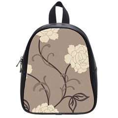 Flower Floral Black Grey Rose School Bags (Small)