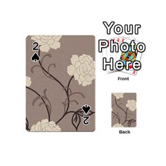Flower Floral Black Grey Rose Playing Cards 54 (Mini)