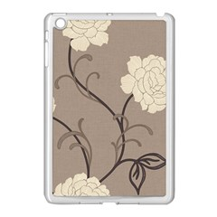 Flower Floral Black Grey Rose Apple iPad Mini Case (White)