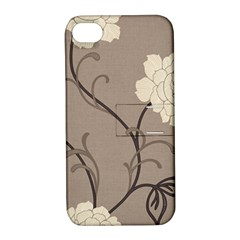 Flower Floral Black Grey Rose Apple iPhone 4/4S Hardshell Case with Stand